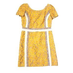 Prada Floral Mustard Gray Mini Dress Size 46 Large
